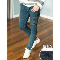 STYLEMAN - Cargo-Pocket Trim Washed Skinny Jeans