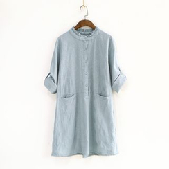 Ranche - Frill Trim Embroidered Shirtdress