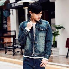 Denimic - Set: Washed Denim Jacket + Washed Slim Fit Jeans