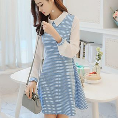 Bornite - Check Collared Long-Sleeve Dress