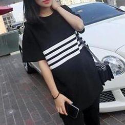 Eva Fashion - Oversized Stripe Print T-Shirt