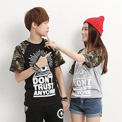 Azure - Couple Short Sleeves Print T-shirt