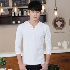 Walwa - Plain Split-neck T-shirt