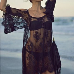 Eloqueen - Cutaway-Shoulder Sheer Lace Tunic