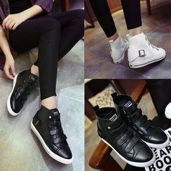 Banaba - Genuine Leather Velcro High-top Sneakers