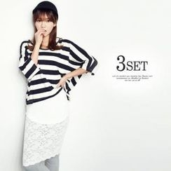 ANNINA - Set: Dolman-Sleeve Striped Top + Racer-Back Tank Top + Inset Lace Skirt Leggings