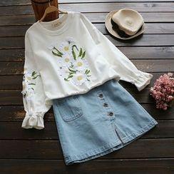 YOYO - 荷叶-袖口贴布绣套衫