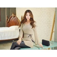 UUZONE - V-Neck Rib-Knit Dress