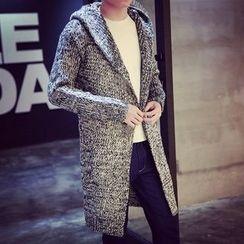 LIBIN - Melange Hooded Chunky Long Cardigan