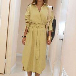 NANING9 - Cuffed-Sleeve Midi Dress with Sash