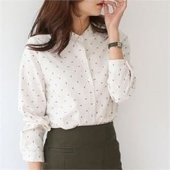 YOOM - Patterned Mandarin-Collar Shirt