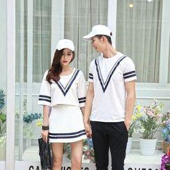 Lovebirds - 情侣款印花T恤/套装:七分袖上衣 + 裙