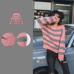 PUFII - Striped Knit Top