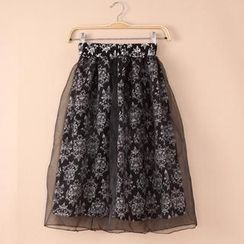 QZ Lady - Floral Print Long Skirt