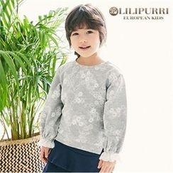LILIPURRI - Girls Lace-Cuff Floral Pullover
