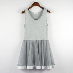 LaRos - 網紗拼接背心裙