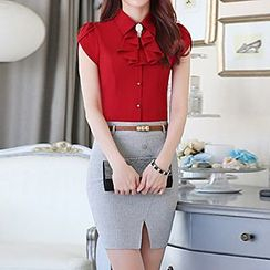 Caroe - Set: Short-Sleeve Frilled Neck Shirt + Skirt