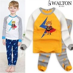 WALTON kids - Boys Pajama Set: Printed Top + Patterned Pants