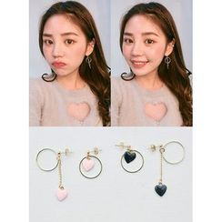 icecream12 - Heart Non-Matching Earrings