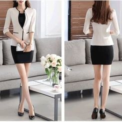 Caroe - 3/4-Sleeve Single Button Blazer / Set: 3/4-Sleeve Single Button Blazer + Short-Sleeve Sheath Dress