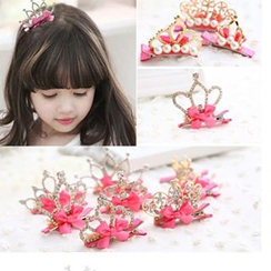 Chapa - Kids Rhinestone Bow-Accent Crown Hair Clip
