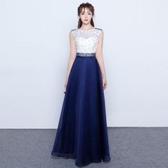 名貴風格 - 珠飾無袖晚禮服