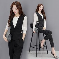 AiSun - Set : Long-Sleeve Top + Vest + Pants