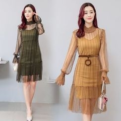 AiSun - Set : Long-Sleeve Mesh Dress + Strap Dress