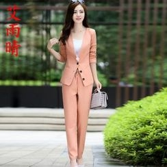 AiSun - Set: Plain Lapeless Blazer + Pants