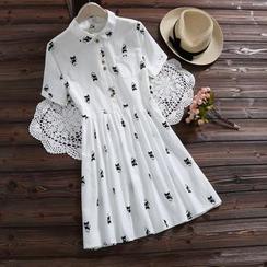 Clover Dream - Cat Print Short-Sleeve Shirtdress