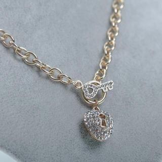 Cuteberry - Rhinestone Lock & Key Necklace
