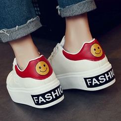 SouthBay Shoes - Smiley Print Platform Sneakers