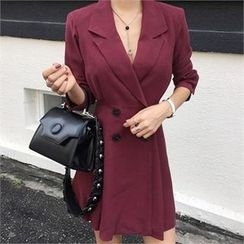 LIPHOP - Peaked-Lapel Double-Breasted Dress