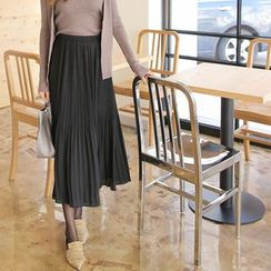 Cherryville - Band-Waist Pleated Long Skirt