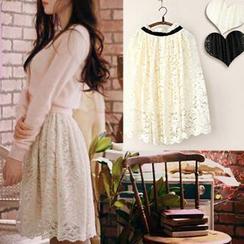 11.STREET - Elastic Waist Lace Skirt