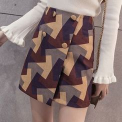 Shatan - Printed Buttoned Mini Skirt