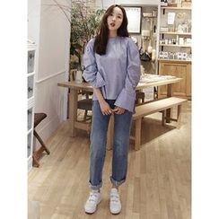 maybe-baby - Fray-Hem Straight-Cut Jeans