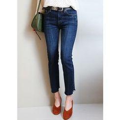 J-ANN - Cutout-Hem Washed Straight-Cut Jeans