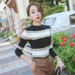 ode' - Crew-Neck Stripe Knit Top