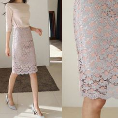 Hello sweety - Scallop-Hem Lace Pencil Skirt