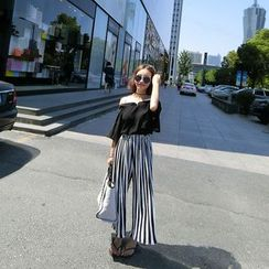 QZ Lady - Set : Off-shoulder Chiffon Top + Accordion Pinstriped Chiffon Wide-leg Pants