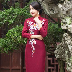 Miss Four Qipao - Floral Embroidered Wool Maxi Cheongsam