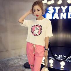 Melon Juice - Cat Print Short-Sleeve T-Shirt