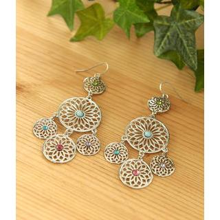 Petit et Belle - Rhinestone Cutout Chandelier Earrings