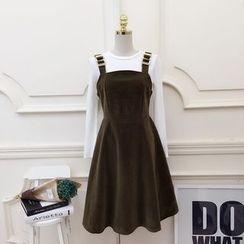 RUI - Set: Long-Sleeve T-Shirt + Velvet A-Line Pinafore Dress