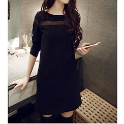 Oaksa - Mesh Inset Long-Sleeved Dress