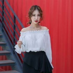 PPGIRL - Off-Shoulder Pleated Top