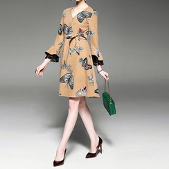 Alaroo - Print A-Line Dress with Sash
