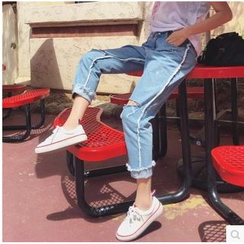 MePanda - Cropped Distressed Jeans