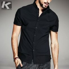 Quincy King - Short-Sleeve Plain Shirt